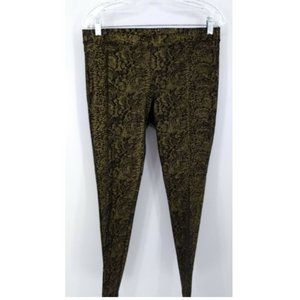 Hue L Legging Pants Gold Black Snakeskin Print
